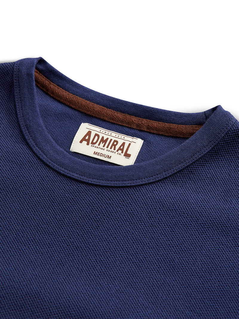 Flat Lay Detail Collar- Admiral Sporting Goods | Belgrave Waffle T-shirt (Hawk Navy)