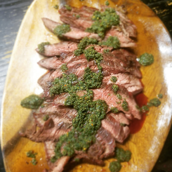 "Chimichurri on flank steak using The Munching Box ""Chimi Slickers"" chimichurri mix."