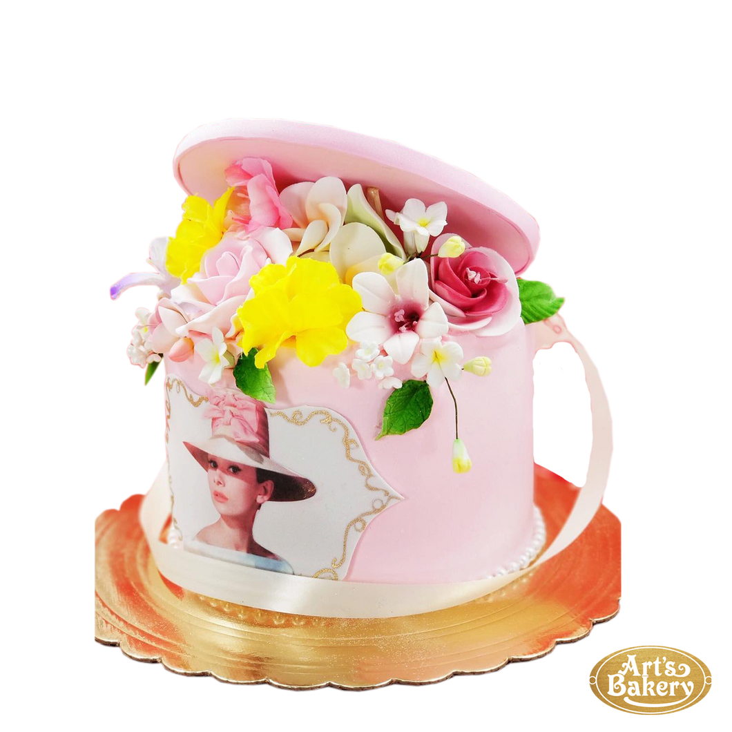 Arts Bakery Glendale Flower Filled Round Box with Female Portrait Cake 06