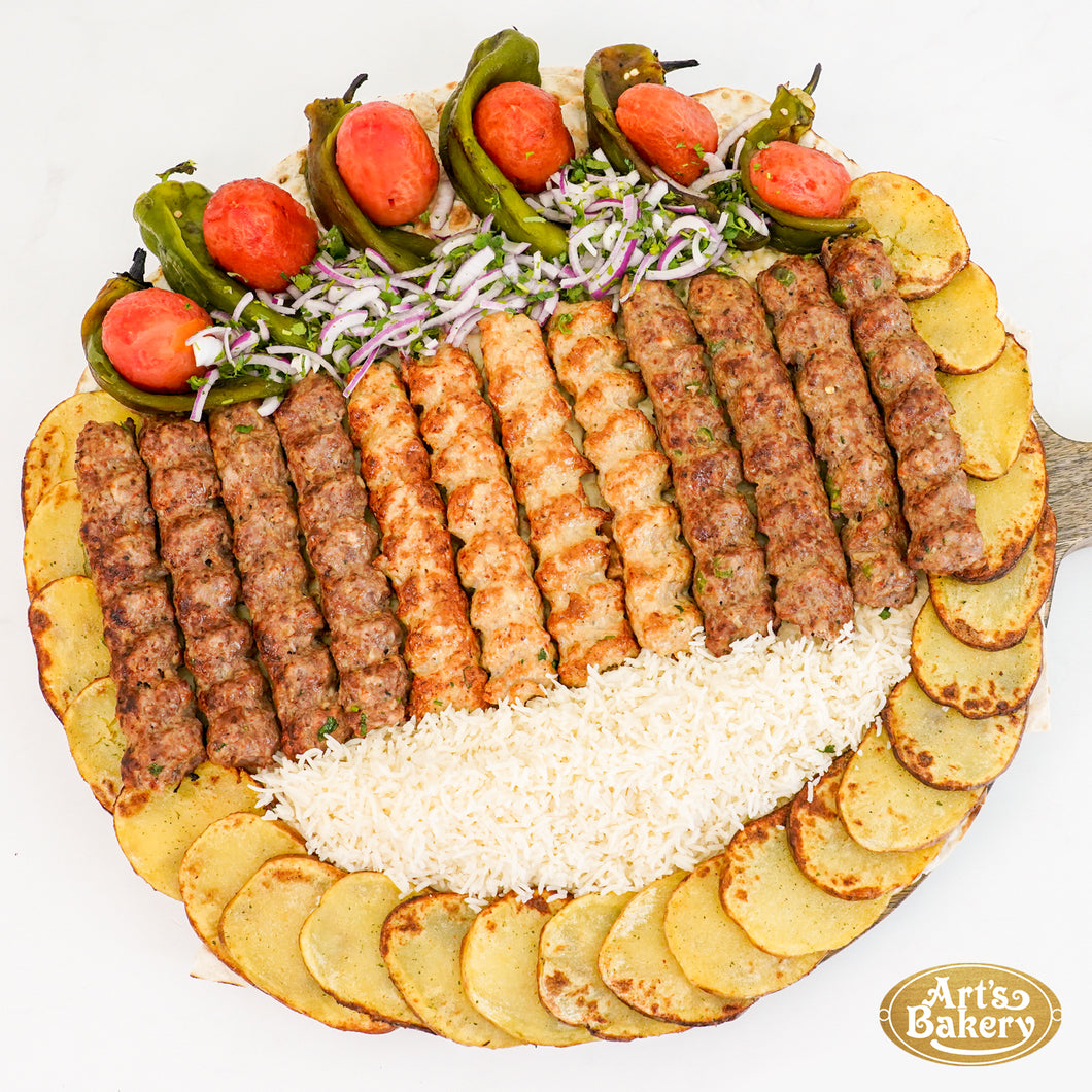 Arts Bakery Glendale Lulah Kabob Family Platter (6, & 12 Person Serving Sizes)