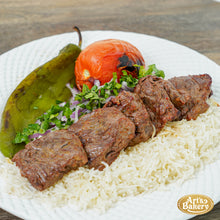 Load image into Gallery viewer, Beef Shish Kabob Plate (5 PIECES) Includes Rice Pilaf & Two Sides