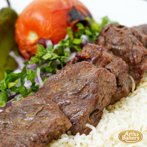 Beef Shish Kabob Plate (5 PIECES) Includes Rice Pilaf & Two Sides