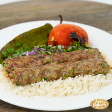 Load image into Gallery viewer, Arts Bakery Glendale Jalapeno & Cheese Infused Beef Lulah Kabob Ground Beef Plate Includes Rice Pilaf & Two Sides