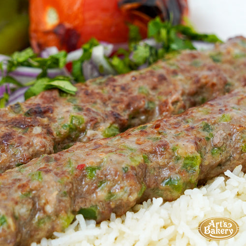 Jalapeno & Cheese Infused Beef Lulah Kabob Ground Beef Plate Includes Rice Pilaf & Two Sides