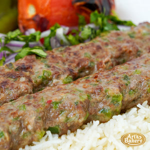 Arts Bakery Glendale Jalapeno & Cheese Infused Beef Lulah Kabob Ground Beef Plate Includes Rice Pilaf & Two Sides