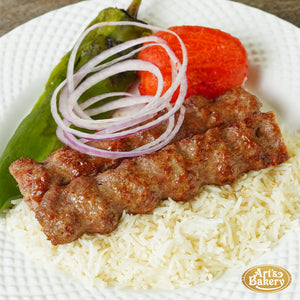Arts Bakery Glendale Beef Lulah Kabob Ground Beef Plate Includes Rice Pilaf & Two Sides