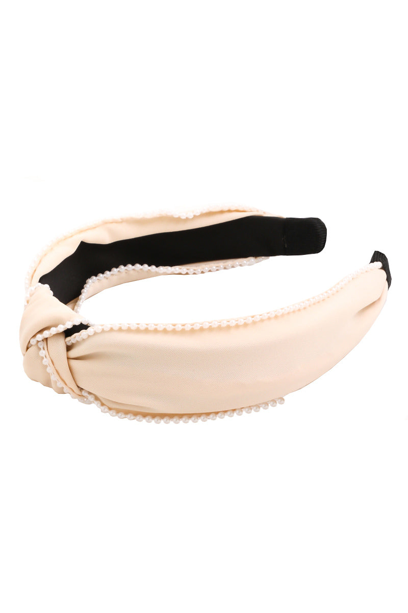 VIRTUE PEARL HEADBAND BEIGE