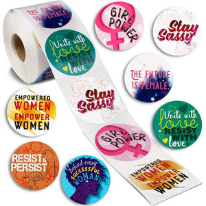 Women Empowerment Stickers, Feminist Girl Power Quotes, 8 Designs (2 In, 500 Piece)