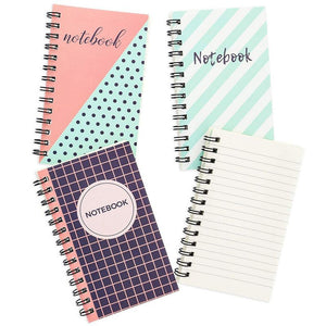 Paper Junkie 12-Pack 3 x 5 Inch Ruled Spiral Pocket Notebooks, Wirebound Small Journals, 3 Cute Designs, 50 Sheets Each