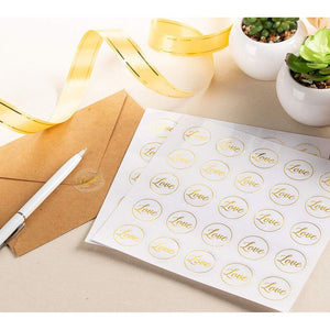 Clear Stickers - 200-Count Wedding Stickers, Gold Envelope Seal Stickers with Love, Adhesive Label for Bridal Shower Invitation, Wedding Invite, Birthday Card, 1 Inches Diameter