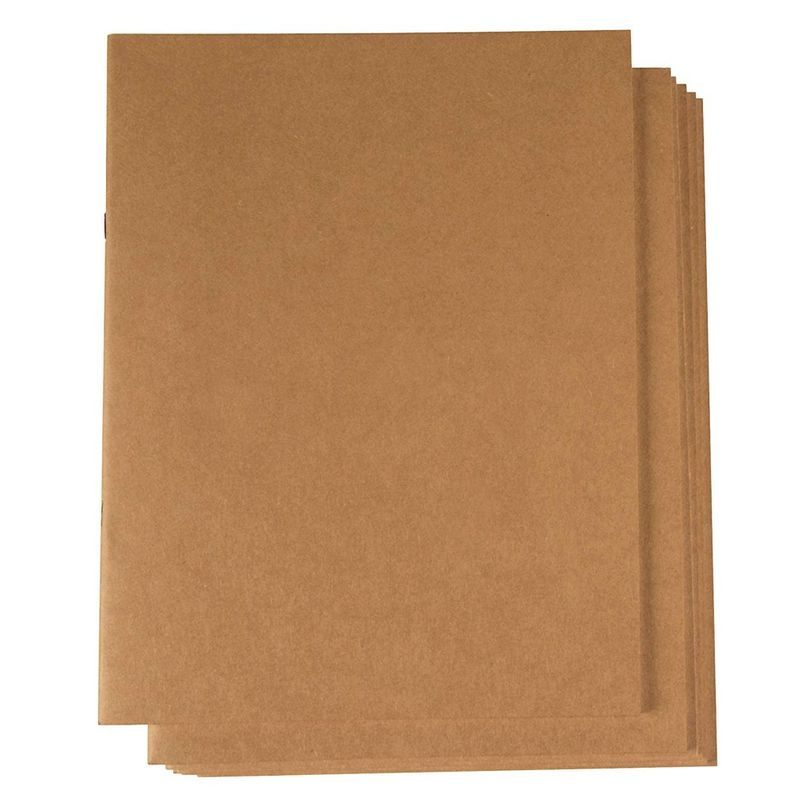 Kraft Paper Cover Unlined Notebook, 8.5 x 11 Blank Journal for Kids (8.5 x 11 in, 6 Pack)