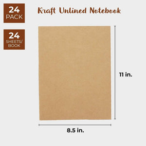 Paper Junkie 24-Pack Bulk Kraft Unlined Notebooks - Blank Journals for Kids, Creative Writing Class, and Drawing, 8.5 x 11 Inches, Letter Sized, 24 Sheets Each