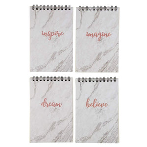 12 Pack Top Spiral Mini Notepads Memo Pads (Marble with Inspirational Quotes, 4x6)