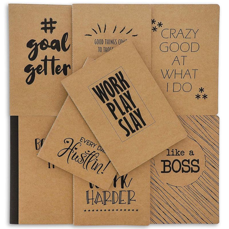 8 Pack Motivational Kraft Travel Journal Notebook for Coworkers (5.75x8.25, A5)