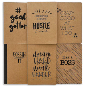 Paper Junkie 8-Pack Soft Cover Lined Kraft Motivational Journal Notebooks, 80 Pages, 8 Designs, 8 x 5.5 Inches