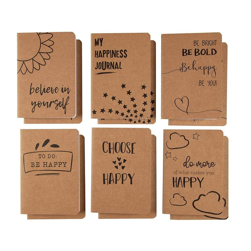 12 Pack Kraft Paper Notebook, Happy Journal (4 x 5.75 in.)