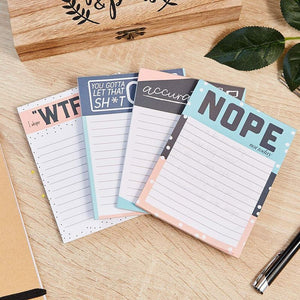 Cute Funny Notepads - 4-Pack Memo Note Pads for Work and Office, Novelty Gift for Adult, Coworker, 4 Assorted Designs, 50 Sheets Each, 4 x 5.2 Inches