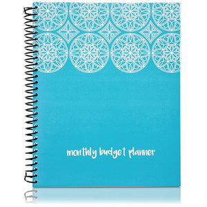 Paper Junkie Monthly Budget Organizer Planner Notebook with 24 Pockets for Receipts and Bills, Blue, 8 x 10 Inches