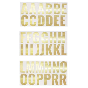 Letter Stickers - 74-Count Gold Foil Alphabet Sticker, Self Adhesive Decorative Sticker for Kids Art & Craft, DIY, Scrapbook, Christmas Decoration, 2 x 2.5 Inches