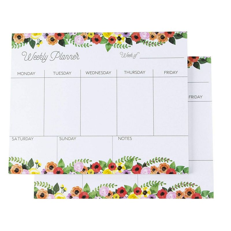 Weekly Planner - Pack of 2 Weekly Planner Pads, Perfect for to Do Lists, Meal Planning, Appointments, 52 Sheets Each, Floral Designs, 8 x 10 Inches