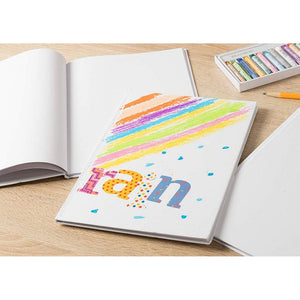 Hardcover Blank Book - 3-Pack Unlined Sketchbooks, Unruled Plain Travel Journals for Students Sketches, Children's Writing Books, Creative Class Projects, White, 5 x 5 Inches, 18 Sheets Each