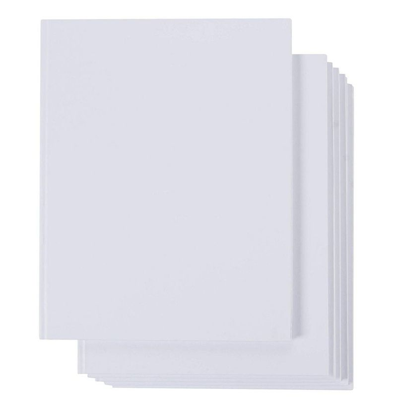 "6-Pack Hardcover Blank Book Unlined Sketchbooks White 8.5"" x 11"", 18 Sheets Each"