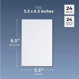 Paper Junkie 24-Pack White Blank Unruled Paperback Notebook Journals for Kids and Student Classroom Writing, 5.5 x 8.5 Inches, Half Letter Sized, 24 Sheets Each