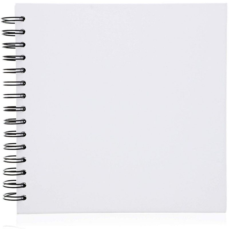 Hardcover Blank Scrapbook Photo Album (8 x 8 Inches, White, 40 Sheets)