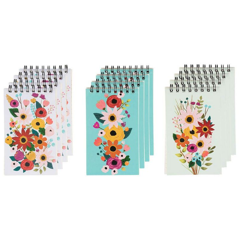 Spiral Notepad - 12-Pack Top Spiral Notebooks, Bulk Mini Spiral Memo Books for Note Taking, To-do Lists, Party Favors, Shower Gifts, Lined Paper, 3 Floral Designs, 3 x 5 Inches