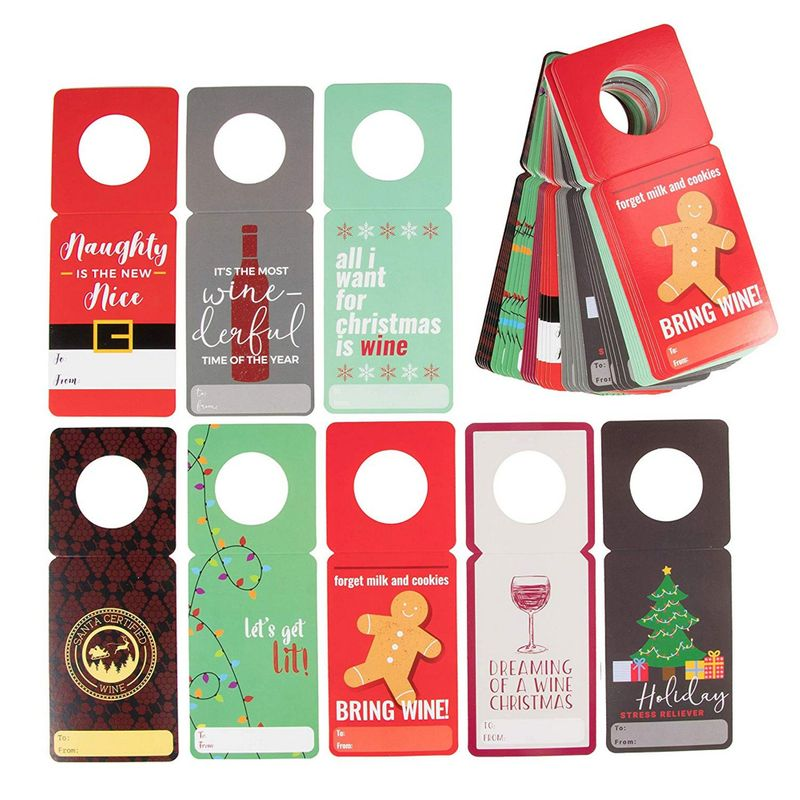 48 Pack Holiday Wine Gift Tags, Wine Bottle Tags, Hang Tags, Paper Gift Labels and Wine Tags for Christmas Dinner, Parties and Wine Bottle Decor, 8 Funny Wine Pun Designs