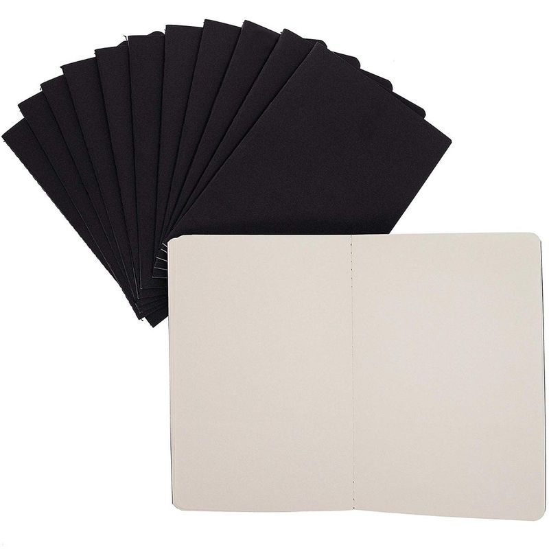 12 Pack Kraft Paper Notebook, Blank Lined Journal Black Cover (5.5x8 in, A5)