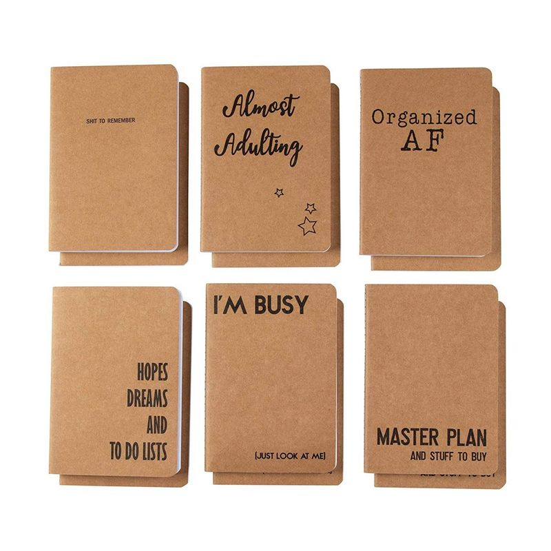 Kraft Notebook Bulk - 12-Pack Lined Pocket Notebook, Travel Journal Set for Diary, and Notes, 6 Different Millennial Phrases Designs, Soft Cover, 80 Pages, Brown, A6, 4.1 x 5.8 Inches