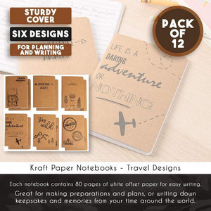 Kraft Notebook - 12-Pack Lined Notebook Journals, Pocket Journal for Travelers, Diary, Notes - 6 Different Adventure and Travel Designs, Soft Cover, 80 Pages, Brown, 4 x 5.75 Inches