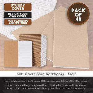 Kraft Notebook - 48-Pack Bulk Lined Notebook Journals, Travel Journal Books for Diary, Notes - H5 Size, Soft Cover Sewn Notebook, Brown, 4.3 x 8.2 Inches