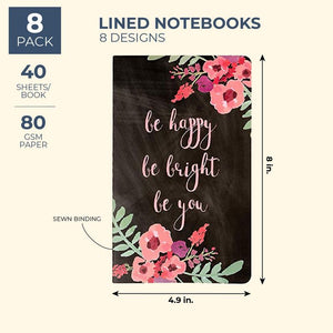 Juvale 8-Pack Bulk Floral Motivational Lined Travelers Notebook Diary Journals, 8 Designs, 80 Pages, 8 x 5 Inches