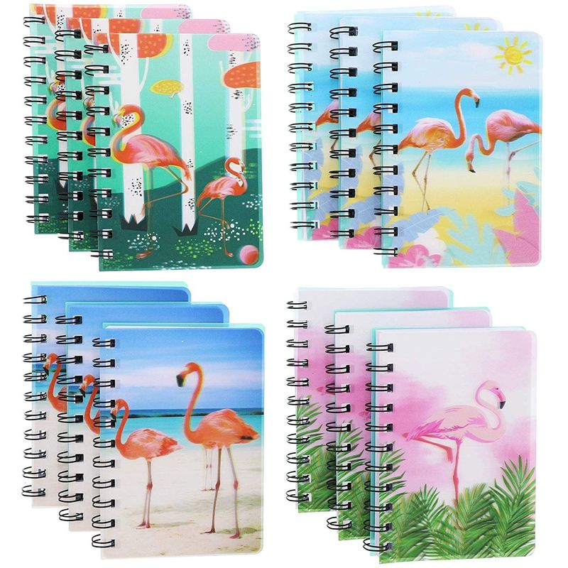 Paper Junkie 3D Cover Spiral Notepads (12 Count), Tropical Flamingo, 4 x 5.5 Inches