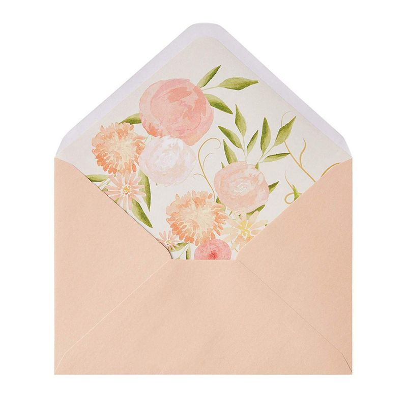 "50-Pack A7 Pink Floral Invitation Envelopes for Wedding, Birthday, 5.25""x7.25"""