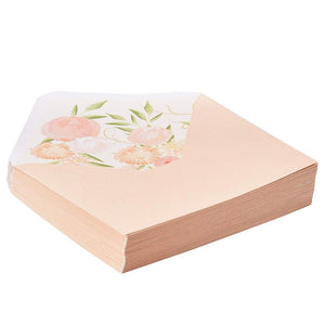 Paper Junkie 50-Pack A7 Blush Pink Special Occasion Invitation Envelopes for 5x7 Invites with Watercolor Floral Lining for Wedding, Graduation, Birthday, 120gsm, 5.25 x 7.25 Inches