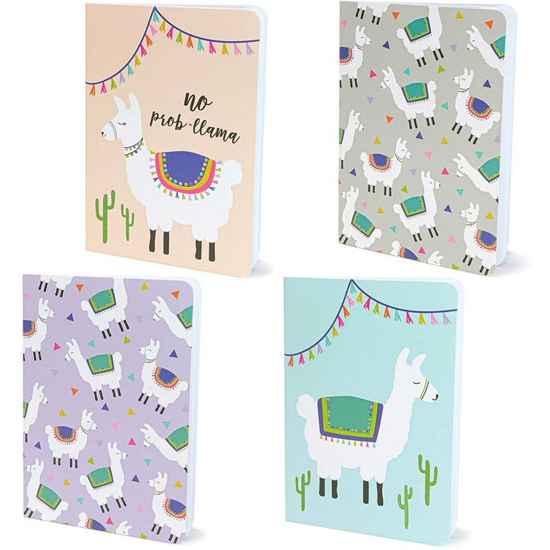 Memo Book – 12-Pack Mini Notebooks, 4 Llama Designs, Field Notebook, Pocket Journal for Kids, Perfect for Journaling, Diary, Note Taking, Soft Cover, 16 Ruled Sheets Each, 3.5 x 5 Inches