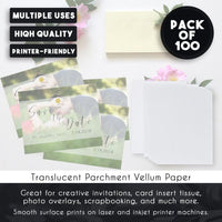 100 Sheets Pack Vellum Paper - White Translucent Sketching Paper - 8.5 x 11""