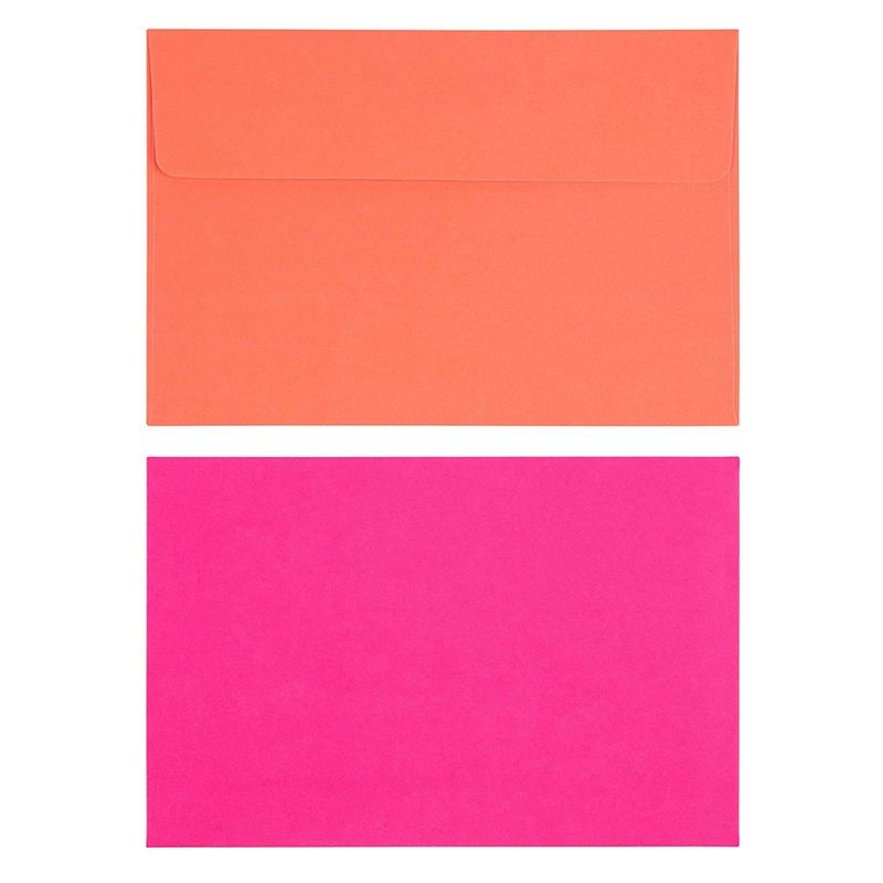 112 Pack Neon A4 Envelopes, 7 Assorted Colors Invite Envelope, 4.25 x 6.25 Inch