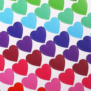 Valentine's Day Heart Stickers for Kids (13 Colors, 36 Sheets)