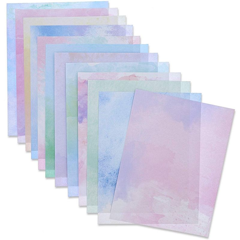 Paper Junkie Stationery Paper (96 Sheets) Double Sided, 12 Watercolor Designs