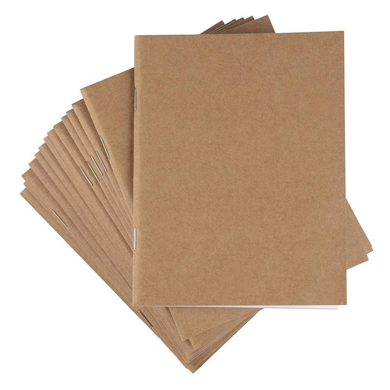 24 Pack Kraft Paper Notebook, Blank Journals Bulk for Travelers Kids (4.25x5.5, A6)
