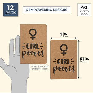 Feminist Kraft Pocket Journal Notebooks (4 x 5.7 Inches, 12-Pack)
