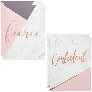 Paper Junkie Pocket Folders with Rose Gold Foil Motivational Sayings (12 Pack), 6 Designs