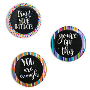 "Paper Junkie18 Count Inspirational Magnets for Lockers or Fridge 1.2"" Diameter"