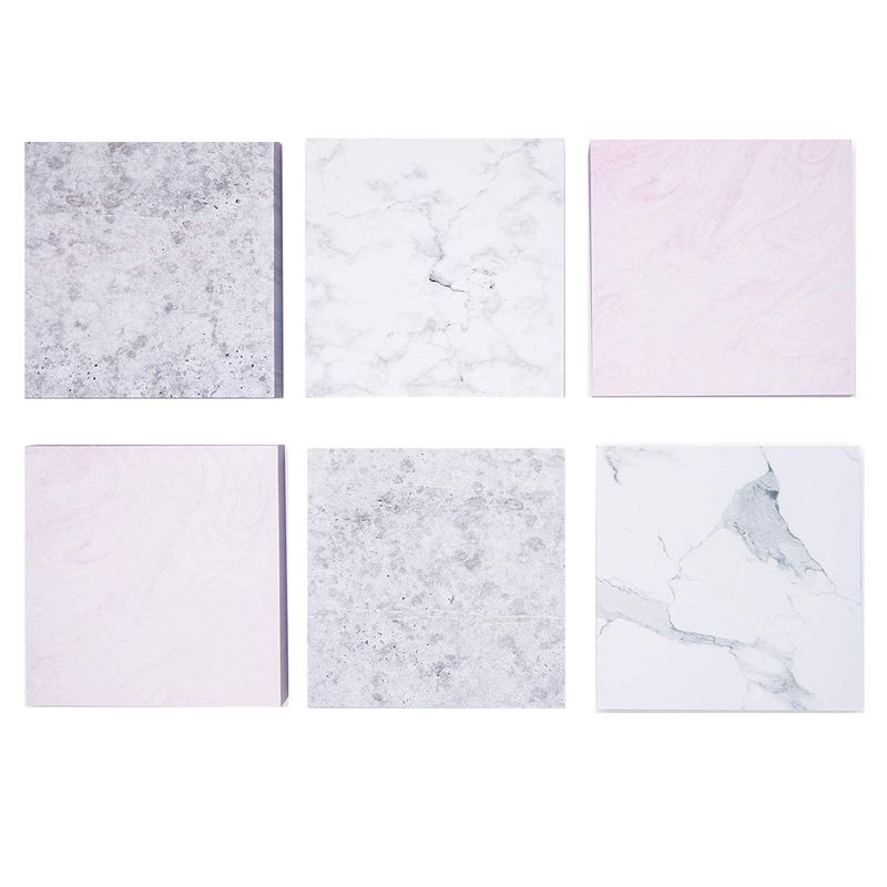 Paper Junkie 6-Pack Marble Adhesive Sticky Note Pads, 6 Designs, 100 Sheets, 3.5 Inches