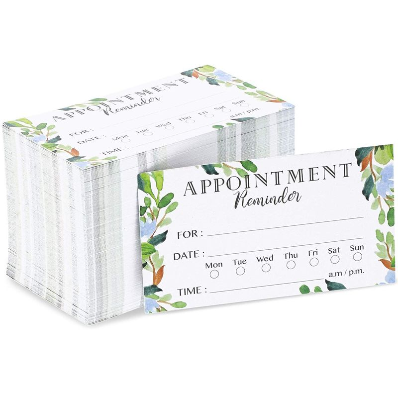 200x Foliage Appointment Reminder Cards for Business Grooming Salon 3.5 x 2""