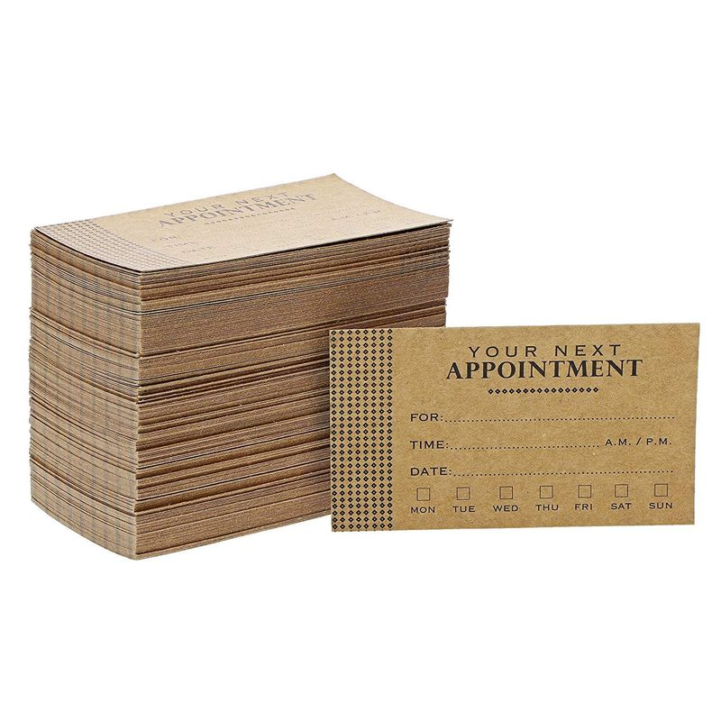 200x Kraft Appointment Reminder Cards for Business Grooming Salon, 3.5 x 2""